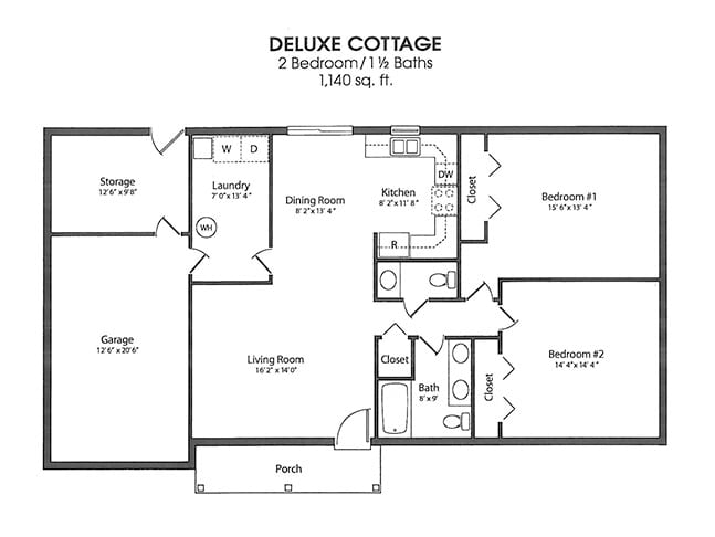 2 bedroom cottage floorplan