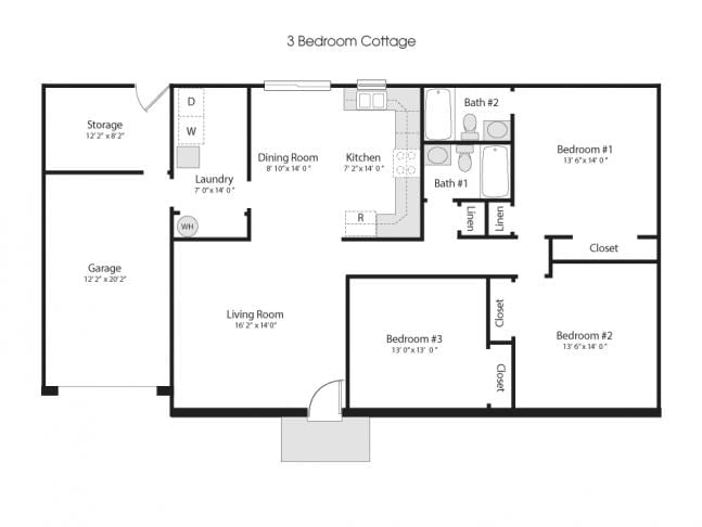 3 bedroom cottage floorplan
