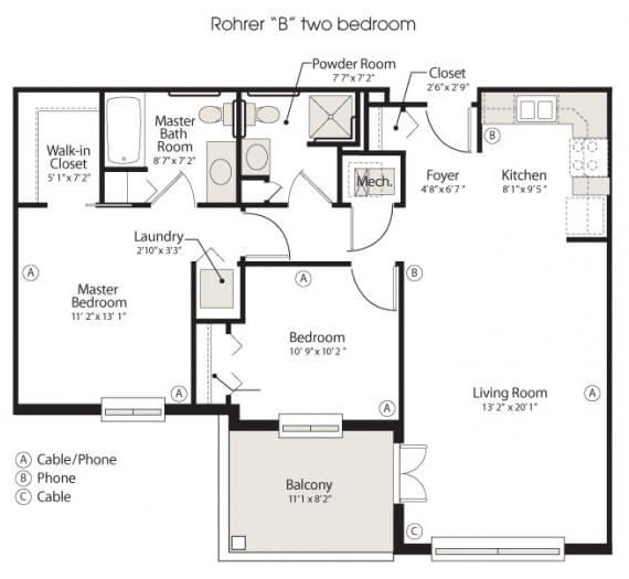 2 bedroom retirement floorplan