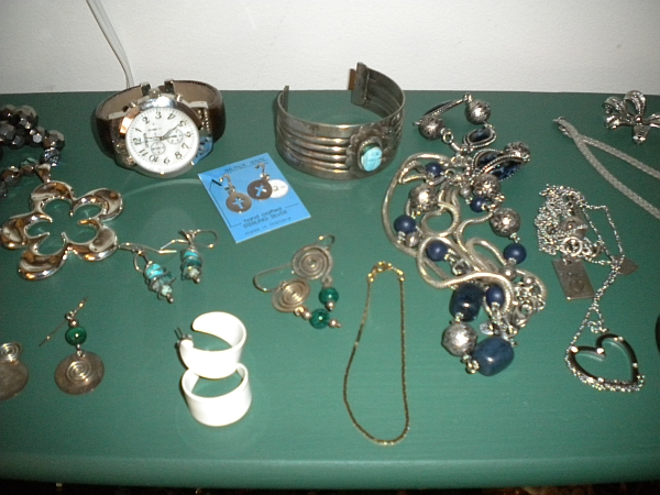 jewelry items at thrift store