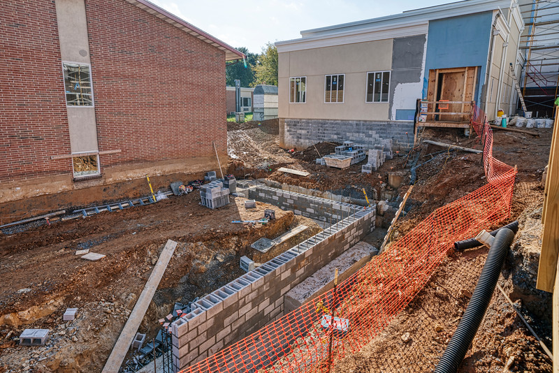 Construction site - Bausman addition foundation chapel in background