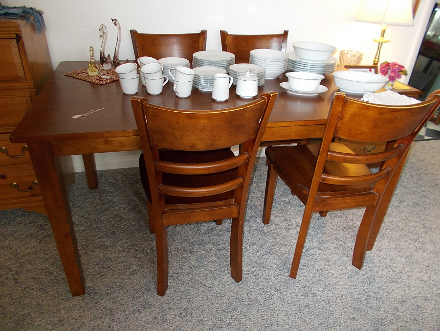 Table and dishes for sale