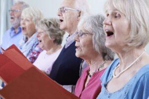 seniors singing hymns